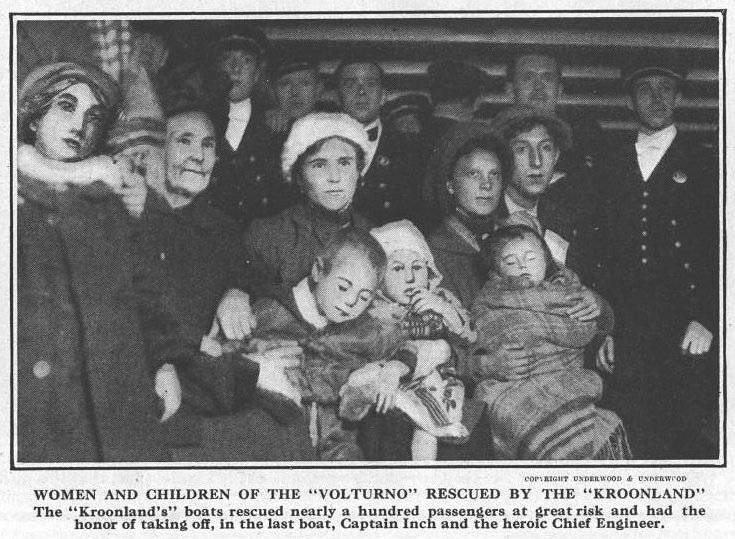 Women and children rescued by the Kroonland ex the Oct 30, 1913 issue of Leslie's Illustrated Weekly Newspaper